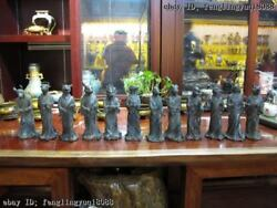 10 China Old Pure Bronze Palace Classical Sign Animal Twelve Zodiac Statue Set