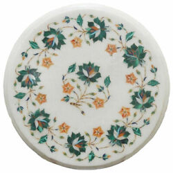2' Marble Corner Table Top White Pietra Dura Inlay For Home Decor Gifts Antique