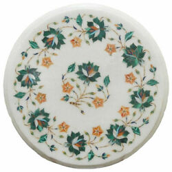 2and039 Marble Corner Table Top White Pietra Dura Inlay For Home Decor Gifts Antique