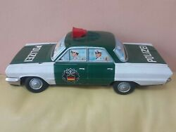 Vintage Yonezawa Police Pozei N 649 Tin Toy 60and039s Battery Operated Japan Ddr Gdr