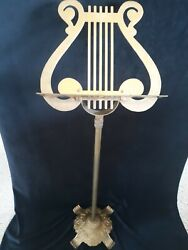Vintage Lyre Brass Harp Music Sheet Footed Stand - Adjustable Height