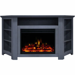 Cambridge Stratford Electric Fireplace Heater With 56-in. Blue Corner Tv Stand,
