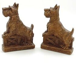 Vintage Ornawood Carved Bookends Scottie Dog Pair Set Of 2 Terrier Scotty Brown