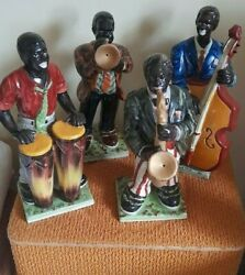Vintage Pottery Black Jazz Band Musician Figurines - Large Size - Staffordshire