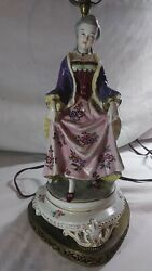 Vintage Colonial Porcelain Figurine Lamp Marked S In Crown