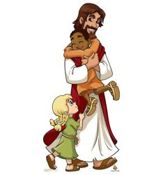Cardboard People Jesus With Children Life Size Cardboard Cutout Standup - Cre...