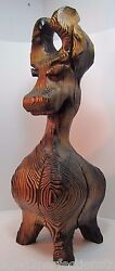 Witco Tiki Dog Large Big Figural Art Carved Wooden Statue Mid Century 21 Tall