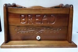 Vintage Stained Wood Bread Box Country Farm House Kitchen Open Front Pre-owned