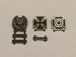 Wwii Sterling Army Expert Sharpshooter Marksman Badges W/ Rifle Pistol Bars