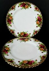 4 Royal Albert Old Country Roses Salad Plate 8 1/8 Set Of 4 Gold Trim