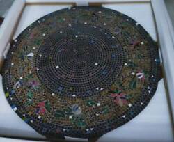30 Antique Mosaic Black Marble Coffee Center Inlay Table Top Round Decor Dura