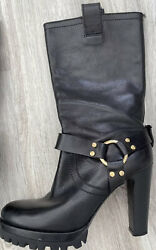 Vintage Rare Motorcycle Harness Boots Black Leather Lug Sole 75