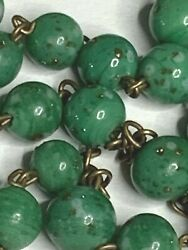 Anddagger Scarce Antique Unique Gold Flakes Green Swirl Art Glass Small Rosary 19 3/4 Anddagger