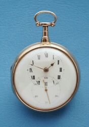 Large Verge Fusee Doctors Pocket Watch In Mint Cond. 18k Gold Pair Cases Hm 1806