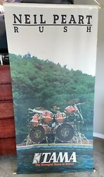 Neil Peart Tama Rush Hanging Cloth Promotional Banner 1982 With Both Dowels