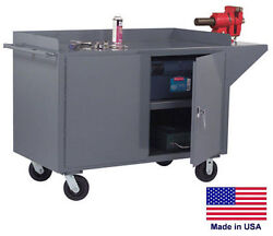Cabinet Cart Portable - Commercial - Locking Doors And Worktop - 38h X 60w X 24d