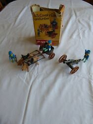 Vintage 1970s Marx Toys Playpeople System U.s. Cavalry Cannon And Limber