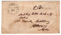 Milledgeville Ga C1852-54 To Athens Ga 'paid 3 Cts Carried By Slave Bob