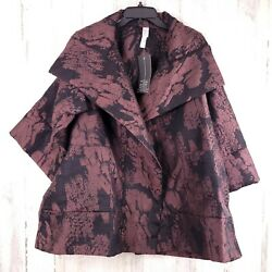 Marlawynne Open Front Jacquard Drama Topper Jacket Collared Womens Size Us M