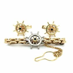 Vintage Ship's Wheel Cuff Link And Tie Clip Set 14k Yellow Gold