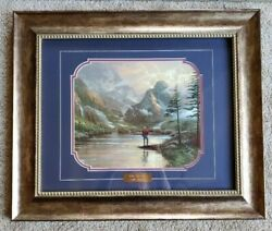 Framed Behind Glass Thomas Kinkade Almost Heaven Art Print Gold Plate Etching