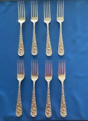 Set Of 8 Stieff Sterling Silver Forks Rose Pattern No Monogram Repousse
