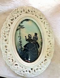 """Vintage Antique 9"""" X 7"""" Oval Plaster Frame With Convex Reverse Silhouette Cs"""