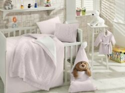 6 Pc Knitted Crib Bedding Set In Pink Baby Girl Nursery Crib By Nipperland