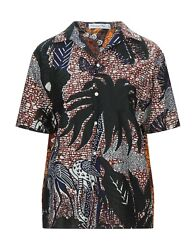 New Christian Dior Woven Camp Voile Floral Print Short Sleeve Shirt Top, Size 8