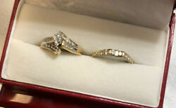 2 Rings 14k Yellow Gold Diamond Marquise Cluater Wedding Not Scrap Band Lot 6 7