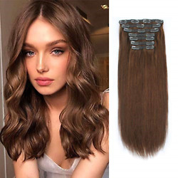 Lovrio 9a Grade Clip In Hair Extensions Human Hair Color Chocolate Brown Double
