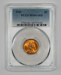 1942 Lincoln Wheat Cent Penny 1c Pcgs Ms 66+ Red Mint State Unc Plus 646
