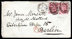 Uk 1869 Pair 3d Rose Plate 5 Tied London To Berlin With P.d. In Red S.g. 103