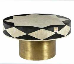 Bone Inlay Coffee Table Striped Round Designer Customize With Insurance Decor Us