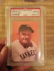1973 U.s. Playing Cards 7 Of Clubs Babe Ruth Yankees Hof Psa 10 Gem Mint.