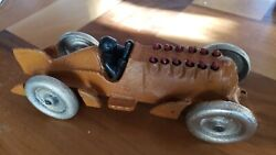 1930s Hubley Classic Cast Iron Animated Race Car With Driver - 10 Reproduction