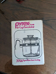 Vintage Pyrex 6 Cup Percolator 7756 - Sealed Box, Brand New