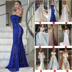 Women#x27;s Lace Evening Party Ball Prom Gown Formal Cocktail Wedding Long Dresses $21.97