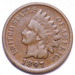 Error 1897 1 In Neck Indian Head Cent Penny Choice Fine Free Shipping E554 Kc