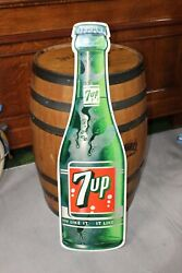 1960s 7up Soda Diecut Bottle Shaped Tin Advertising Sign By Stout