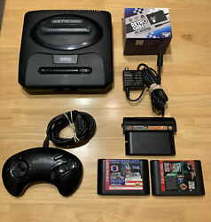 Sega Genesis Console Lot W/controller 3 Games Sonic And Knuckles Tecmo Super Bowl
