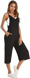 Style Dome Womens Casual Jumpsuits Overalls Loose Fit With Pockets Wide Leg Romp