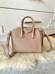Authentic Givenchyw Receipt Small Antigona Bag Grained Leather Rose Pink Beige