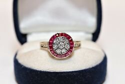Antique Art Deco Style New Made 14k Gold Natural Diamond And Caliber Ruby Ring