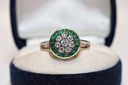 Antique Art Deco Style 14k Gold New Made Natural Diamond Caliber Emerald Ring