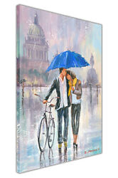 Couple With Umbrella And Bicycle On Framed Canvas Wall Art Print