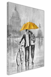Black And White Couple With Umbrella And Bicycle Framed Canvas Pictures Wall Art