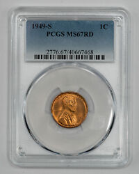 1949 S Lincoln Wheat Cent Penny 1c Pcgs Ms 67 Red Mint State Unc 468
