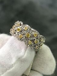 18k White Gold Genuine White Diamonds And Yellow Sapphire Pave Wide Band Ring Gift