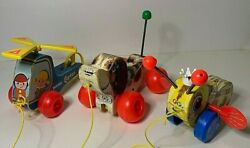 Lot 3 Vintage Fisher Price Wooden Pull Toys Little Snoopy Mini Copter Queen Bee